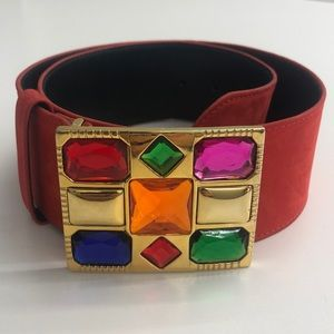Vintage Escada Orange Suede Jeweled Buckle Belt